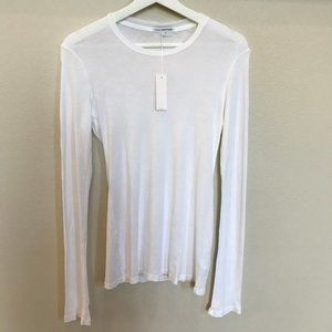 JAMES PERSE Sumpima Cotton Long Sleeve White Tee